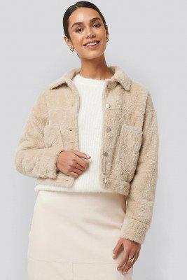 NA-KD NA-KD Hairy Faux Fur Jacket - Beige