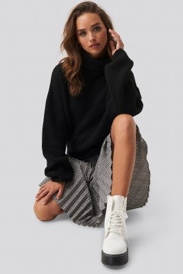 NA-KD Trend Knitted Turtle Neck Sweater - Black