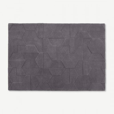 MADE.COM Hayden wollen vloerkleed, 160 x 230 cm, grijs