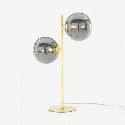 MADE.COM Globe tafellamp, messing en rookglas