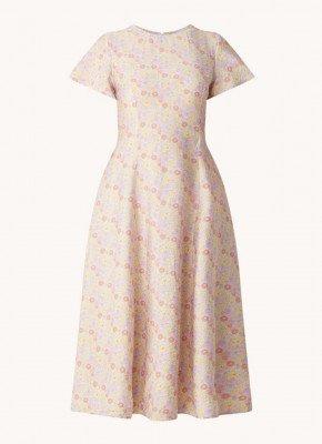 EDITED EDITED Marlen midi jurk met bloemenprint en rugdecolleté