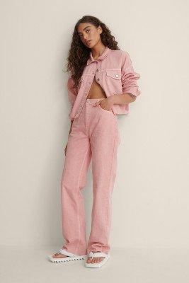 NA-KD NA-KD Organisch Rechte Gekleurde Jeans Met Hoge Taille - Pink