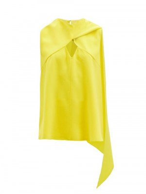 Matchesfashion Roksanda - Namida Draped-panel Crepe Top - Womens - Yellow