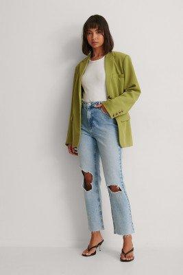 NA-KD Trend NA-KD Trend Organisch Rechte Jeans Met Hoge Taille En Kapotte Knieën - Blue
