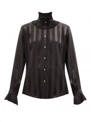 Matchesfashion Dolce & Gabbana - Flounced Stripe-jacquard Silk-satin Blouse - Womens - Black