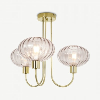 MADE.COM Tilbury plafondlamp, opaalgroze en antiek messing