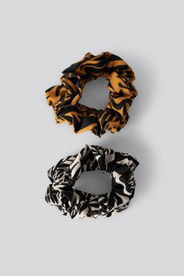 NA-KD Accessories NA-KD Accessories Double Pack Animal Printed Scrunchies - Multicolor