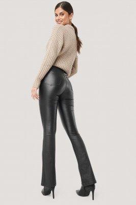 NA-KD NA-KD Waxed Flared Pants - Black