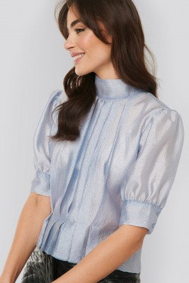 NA-KD Trend NA-KD Trend Structured Organza Gathered Blouse - Blue