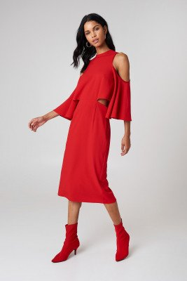 NA-KD NA-KD Cut Out Tied Neck Dress - Red