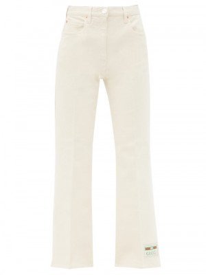Matchesfashion Gucci - Logo-patch High-rise Cropped-leg Jeans - Womens - Ivory