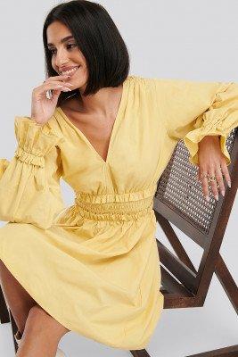 NA-KD Gathered Puff Sleeve Mini Dress - Yellow