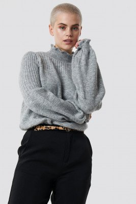 Trendyol Trendyol Balloon Sleeve Knit Detailed Sweater - Grey