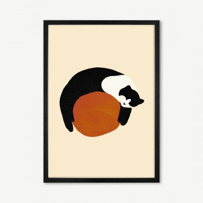 MADE.COM Sifa Mustafa, 'Sleepy Cat', ingelijste print, A3