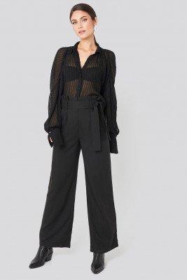 NA-KD Trend NA-KD Trend Belted Flared Pants - Black