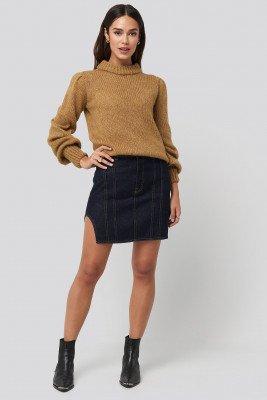NA-KD NA-KD Waist Dart Detail Denim Mini Skirt - Blue