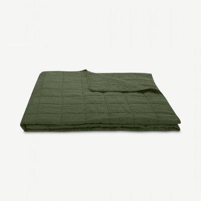 MADE.COM Brisa bedsprei, 100% gewassen linnen, 220 x 225 cm, mosgroen