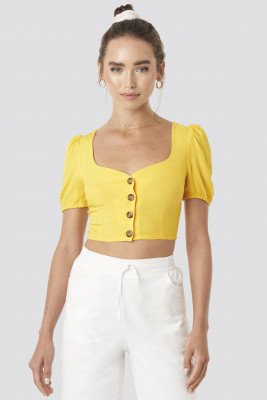 Céline & Talisa x NA-KD Wide Neck Buttoned Top - Yellow
