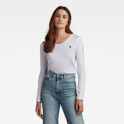 G-Star RAW Rolled Edge Long Sleeve Top C - Wit - Dames