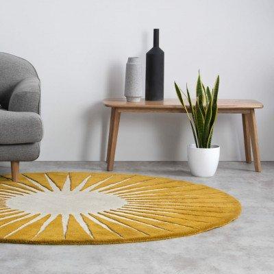 MADE.COM Vaserely rond wollen vloerkleed 200 cm, chartreusegeel