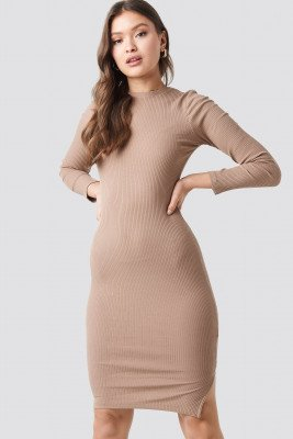 NA-KD NA-KD Ribbed Long Sleeve Dress - Beige