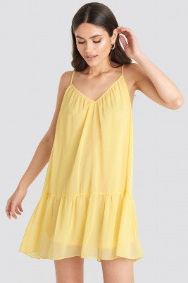 NA-KD Trend NA-KD Trend Thin Strap Short Dress - Yellow