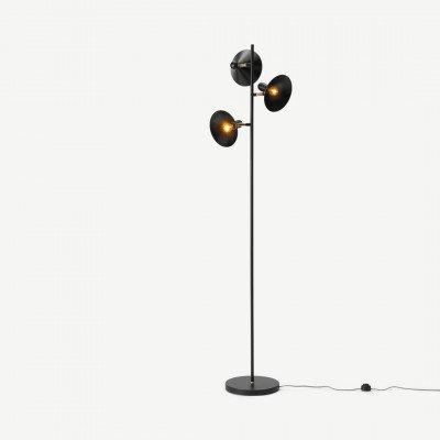 MADE.COM Ogilvy staande lamp, matzwart en antiek messing