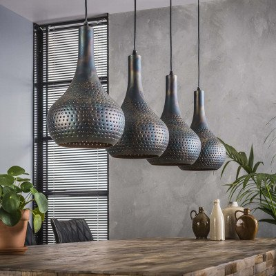 LifestyleFurn Hanglamp 'Judd' 4-lamps, kleur Zwart/bruin