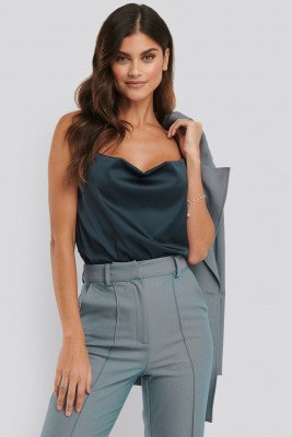 NA-KD Party NA-KD Party Cowl Neck Satin Singlet - Blue