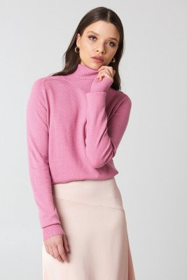 NA-KD NA-KD High Neck Light Knitted Sweater - Pink