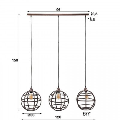 LifestyleFurn Hanglamp 'Tatsuya' (Keri) 3-lamps, antiek koper