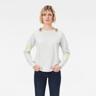 G-Star RAW Sleeve Print Tweater - Beige - Dames