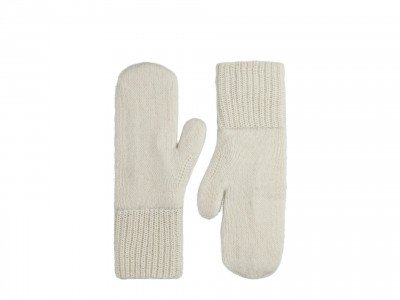 Alpaca Loca Knitted Mittens Off White