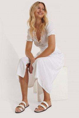 NA-KD Shoes Leren Teenring Sandalen Met Bandjes - White