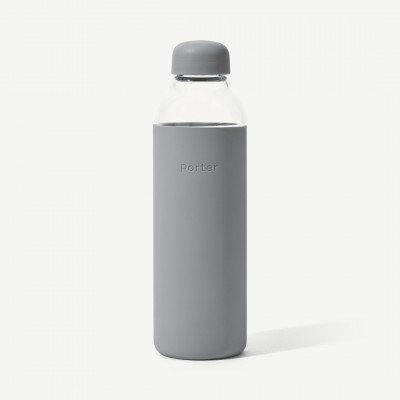 MADE.COM W&P Porter waterfles, glas en leisteengrijze silicone