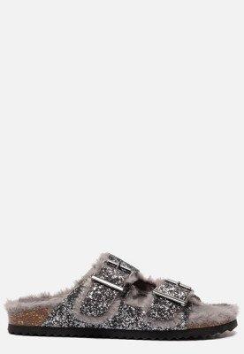 Colors of California Colors of California Furry Bio pantoffels zilver