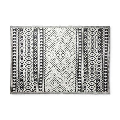 Xenos Buitenkleed ethnic - zwart/wit - 160x230 cm