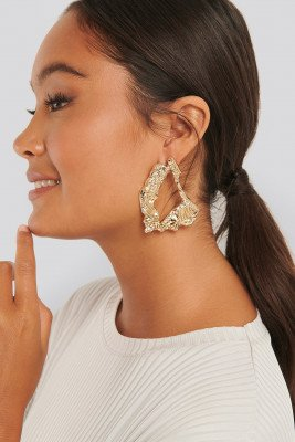 NA-KD Accessories Big Smashed Earrings - Gold