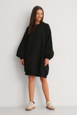NA-KD NA-KD Organisch Sweatshirtjurk Met Ballonmouwen - Black