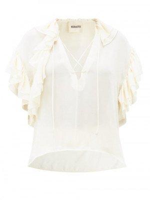 Matchesfashion Khaite - Dee V-neck Flounced Silk-georgette Blouse - Womens - Ivory