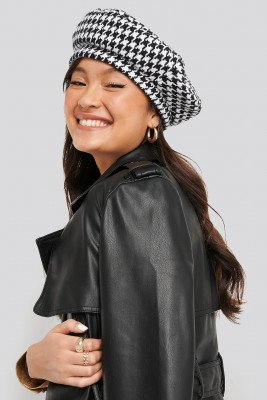 NA-KD Accessories Dogtooth Beret Hat - Multicolor