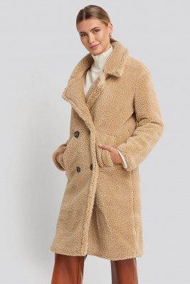 NA-KD NA-KD Long Teddy Coat - Beige