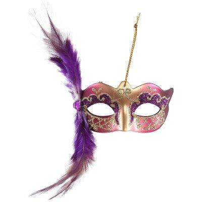 Firawonen.nl Venetian mask purple hang mask with feather