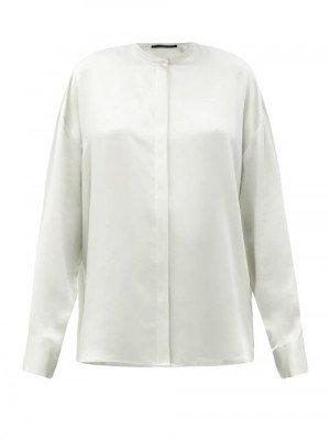 Matchesfashion Haider Ackermann - Dali Stand-collar Silk Shirt - Womens - Grey