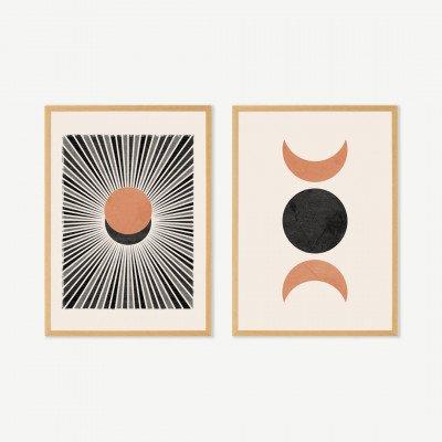 MADE.COM N Minet, 'Sunset Moonrise', set van 2 ingelijste prints (meer formaten beschikbaar)