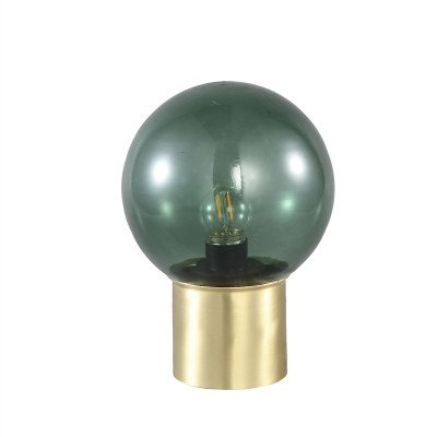 Firawonen.nl PTMD Demure Green glass LED table lamp gold base bulb
