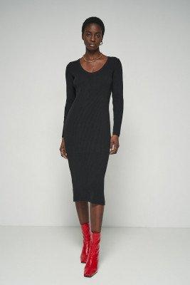 nu-in Long Sleeve Ribbed Midi Dress