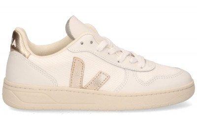 VEJA VEJA V-10 B-Mesh Wit/Goud Damessneakers