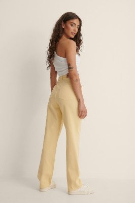 Anna Briand x NA-KD Anna Briand x NA-KD Organisch Rechte Jeans Met Hoge Taille - Yellow