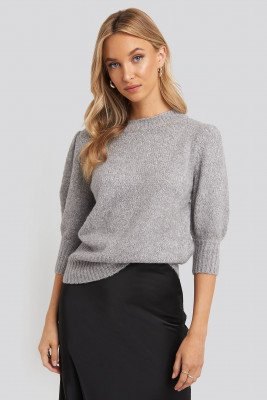 NA-KD Short Puff Sleeve Knitted Sweater - Grey